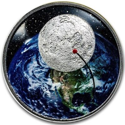 2019 1 Oz PROOF Silver APOLLO 11 50th ANNIV. OF THE MOON LANDING Curved Coin.