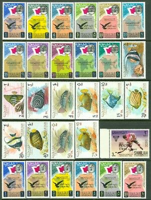 EDW1949SELL : SHARJAH Nice collection of all VF MNH Cplt sets. Includes Imperfs