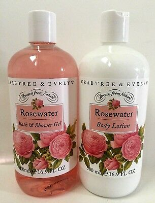 Crabtree & Evelyn ROSEWATER Bath & Shower Gel AND Body Lotion Set 16.9 Oz. Each!