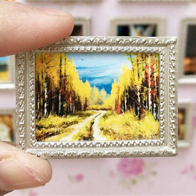 Vintage Miniature Dollhous Framed Wall Painting 1:12 Doll Home Decor Accessory_A