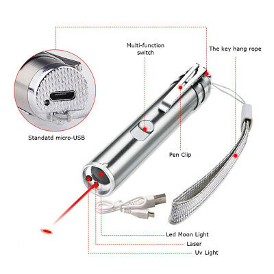3 in 1 USB Rechargeable Mini Red Laser Pointer Pen with White LED Light Cat Toy