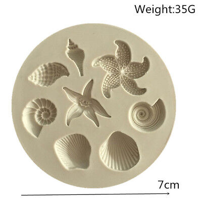 Sea Shell Starfish Conch Silicone Fondant Cake Chocolate Candy Jelly Molds
