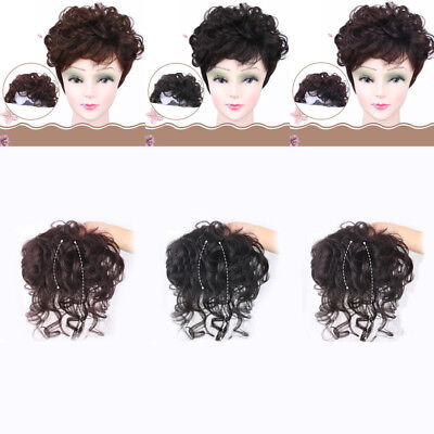 Wavy Curly Hairpiece Clip In Real Human Hair Silk Top Topper Toupee Fashion Wigs