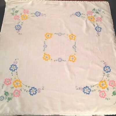 Vintage Hand Embroidered White Linen Tablecloth 42X44 Inches