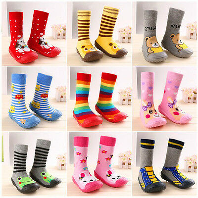 Newborn Anti Slip Baby Cotton Baby Socks With Rubber Soles Infant Socks Shoes HV