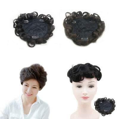 Hand Made Mono Curly Wavy Real Human Hair Topper Hairpiece Replacement For Women