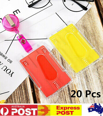 20 x Double-sided Clear Vertical Hard Plastic Business ID Card Badge Holder