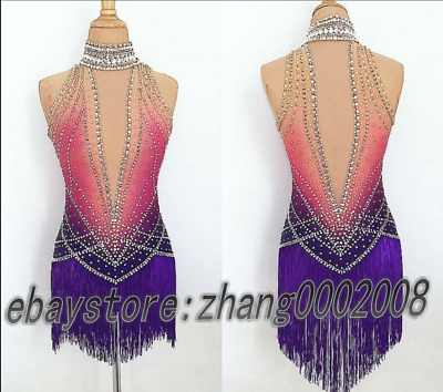 Stylish Ice skating dress.Competition Twirling Figure skating dress.Tassel Skirt