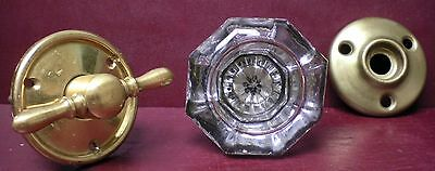 Antique Silvered Centered Glass & Brass Doorknob & Finger Turn W/rosettes #09