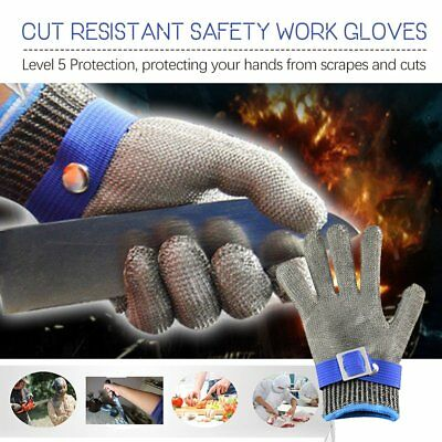 Safety Cut Proof Stab Stainless Steel Metal Resistant Mesh Glove for Butcher QM