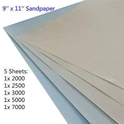 Wet and Dry Fine Sandpaper Assorted 2000 2500 3000 5000 7000 Grit 5 Sheets Mixed