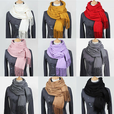 Women Lady Warm Scarf Cashmere Oversized Scarves Pashmina Shawl Stole Wraps AU
