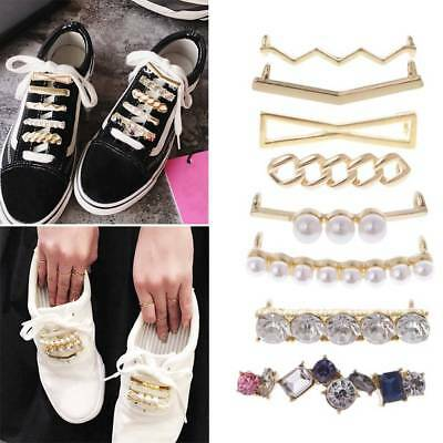 Personality Shoelaces Clips Decor Charms Faux Pearl Rhinestone Shoes Accessories