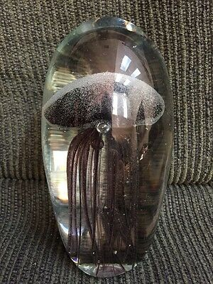New NWT Hand Blown Art Glass Jelly Fish Design Figurine Paperweight 5""