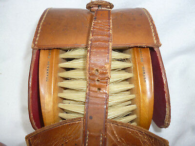 ANTIQUE GENTLEMANS HAIR & BEARD BRUSHES Polished Timber Leather & Real  Bristle