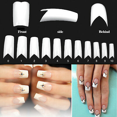 500 PCS Flame V Shape French Style False Nail Art Acrylic Gel Tips - White