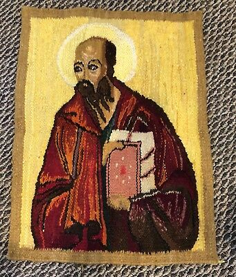 Polish Hand Made Religious Icon Saint Tapestry Kilim Signed 22x16