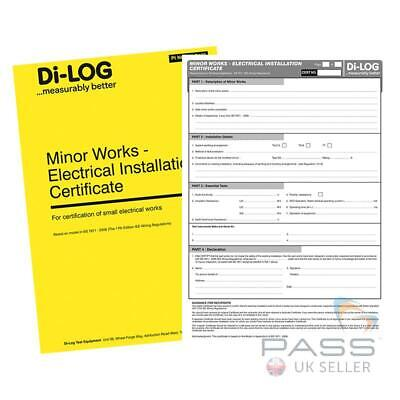 DiLog DLC102 Minor Works Electricial Installation Certificate Book