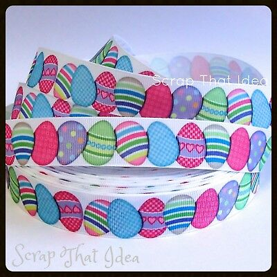 "Easter Eggs  RIBBON. 7/8"" Grosgrain. PASTEL. Scrapbooking/Cake/Craft. Large Eggs"