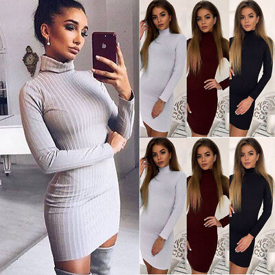 DE Damen Rollkragen Pullikleid Strickkleid Strickpullover Strickpulli Wollkleid