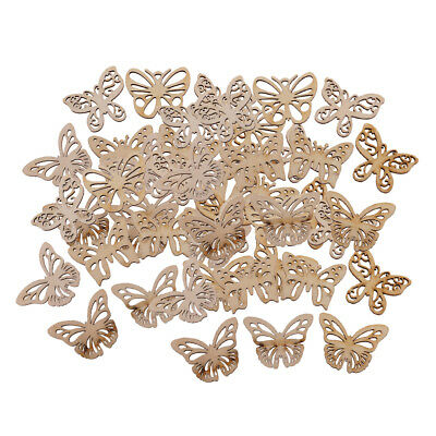 50x Wooden MDF Shapes Butterfly Bunting Craft Embellishments Wood Decoration