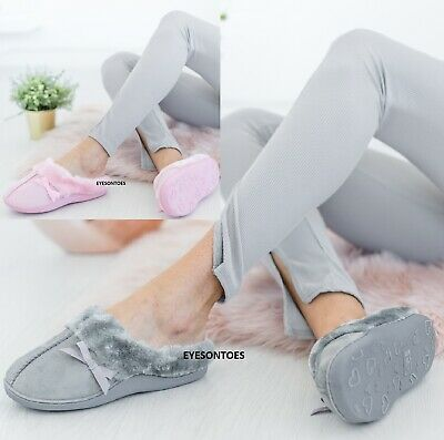 Womens Comfy Indoor Winter Warm Wide Fit Slippers Ladies Bedtime Mule Shoes Sz