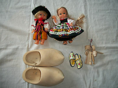 Vtg Netherlands Holland Dutch Souvenirs Dolls Wood Clogs Mini Kitchen Utensils