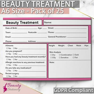 Beauty Client Record Card GDPR Compliant PREMIUM NEW Consultation Facial x25