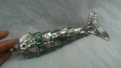 Nice vintage Taxco Mexico articulated fish abalone inlay bottle opener