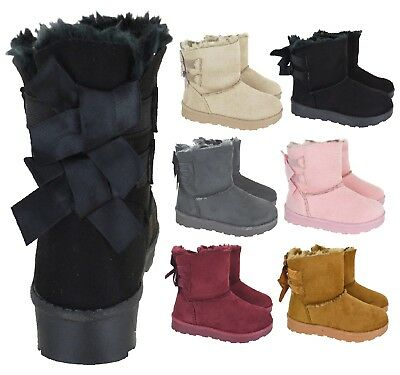 Girls Kids Warm Winter Fur Lined Flat Snugg Hugg Bow Style Ankle Boots Size 10-2