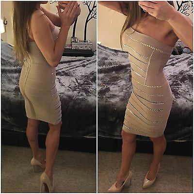 Womens Crystal Embellished Nude Bandage Bodycon Celebrity Luxury Dress  S UK 8