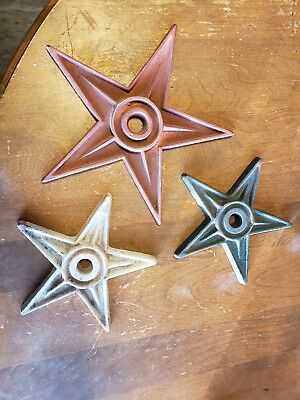 3 Cast Iron Stars Architectural Stress Washer Texas Lone Star Rustic Ranch