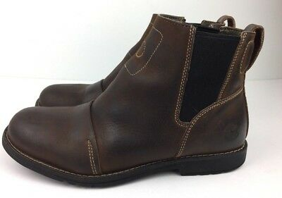 c0c94c02d31a Timberland Ankle Boots Men s Chelsea Style Brown Leather Pull On Cap Toe Sz  9 M