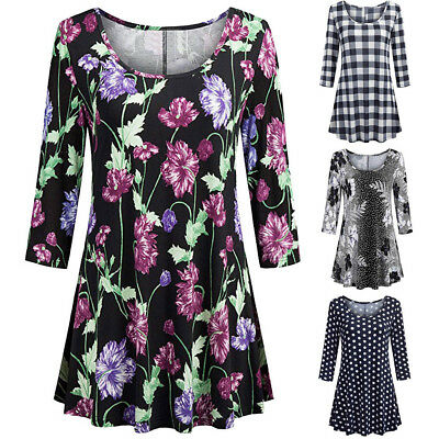 Women Ladies Casual Floral Print Shirts 3/4 Sleeves Loose Tunic Blouse Tops XXL