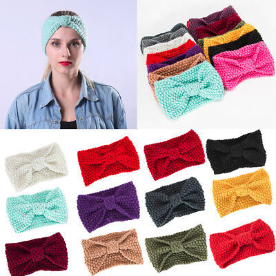 Winter Warm Women Headband Knitted Crochet Wool Hat Head Wrap Wide Hair Band XL#