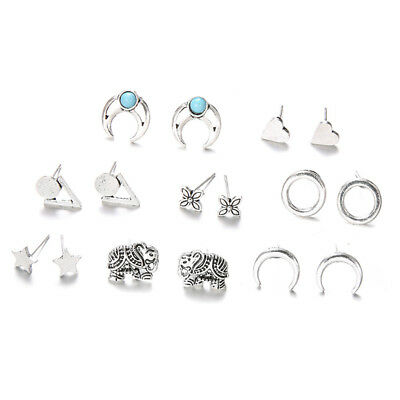 8 Pairs Fashion Punk Moon Love Heart Flower Star Circle Stud Earring Gift Z
