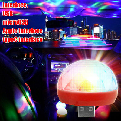 D59E Portable Cars Atmosphere Lamp LED Music Bulb Mini Disco Light USB Lights