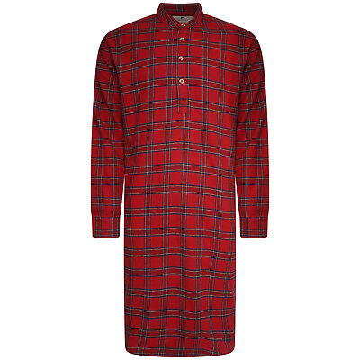 Men s Lee Valley 100% Cotton Tartan Flannel Nightshirt. Green Or Red. Sizes  M-L fc7d44767