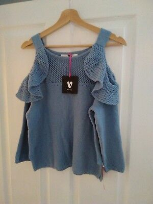 Women's Blue Knit Top Size 12 Cold Shoulder Detail Brand New(VERY. CO. UK)