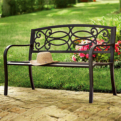 Outdoor Garden Furniture Stamford 3 Seater Steel Metal Cast Iron Bench - Bronze