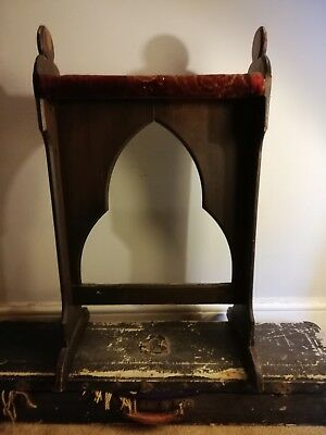 Gothic Style Antique Church Seat  / Organ Seat Pine