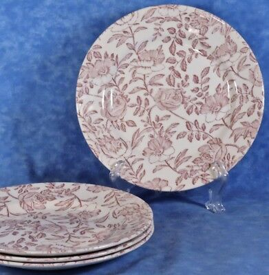 4 Churchill PINK PEONY Salad Plates- Red Toile Chintz Transferware, England, EUC