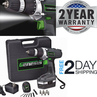 Battery Operated Drill Set With Light Cordless Driver Screwdriver Charger Home