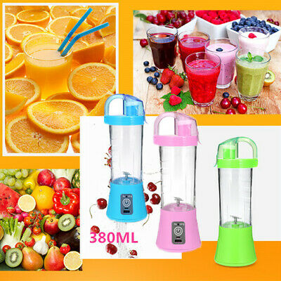 400mL Electric Juicer Cup Portable Blades Fruit Vegetable Juice Mixer USB 220V