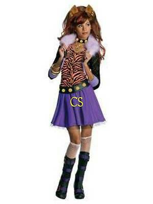 Nwt-Girls 6 Pc Monster High Clawdeen Lupo Costume Halloween, Chiodo & Trucco