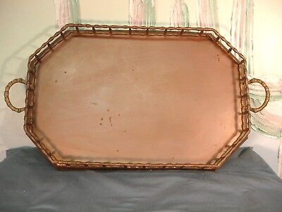 Large Vintage Brass Serving Tray Bamboo Fence Rail  2 Handled 20 x 13 x 2 USED
