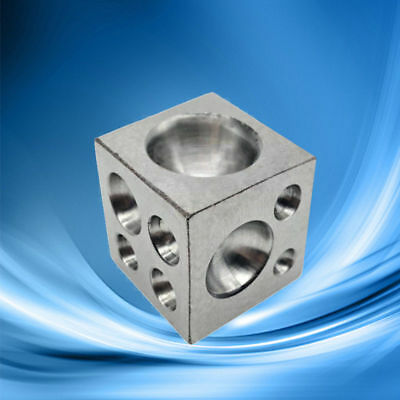 """18 Round Cavities 0.98"""" Polished Jewelers Dapping Block Stainless Steel"""