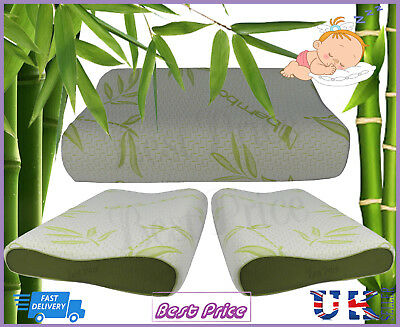 Kids Bamboo Memory Foam Contour Cot Bed Pillow Junior Toddler Baby Soft Comfy