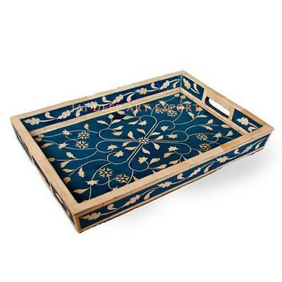 Bone Inlay Blue Leaf Wooden Antique Handmade Vintage Indian Serving Tray