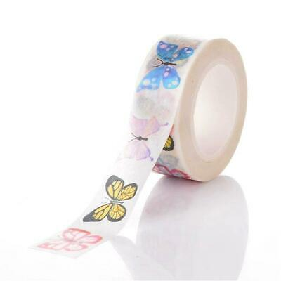 1 x 10m Roll Mixed/White Adhesive 15mm Butterfly Washi Tape Y13055